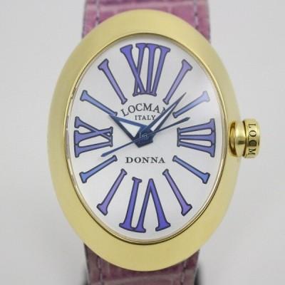 【電池交換済】LOCMAN ロックマン DONNA オーバル型 クォーツ レディース 腕時計 シルバー文字盤 ベルト3本付 REF.410【いおき質店】