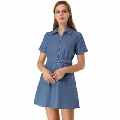 Allegra K デニムワンピース ドレス 半袖 コットン ジッパー ベルト付き ポケット付き レディース ブルー XS