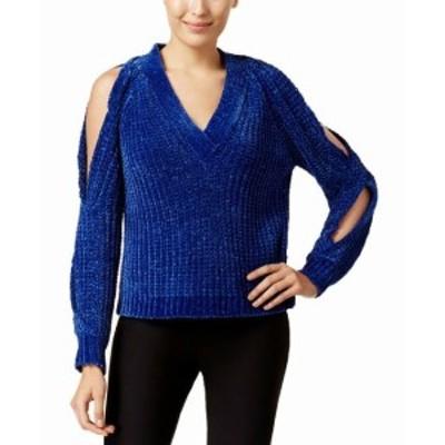Marled  ファッション トップス Marled NEW Blue Womens Size Large L Twist Cold-Shoulder V-Neck Sweater