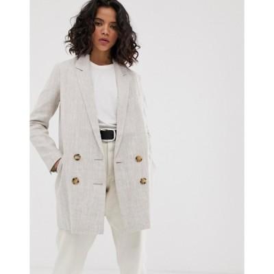 エイソス レディース コート アウター ASOS DESIGN linen coat with contrast buttons