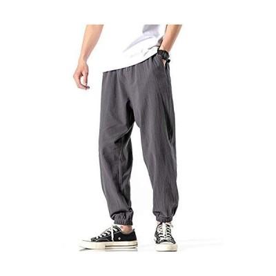 [グリーンティー] ワイド ロング パンツ ズボン 綿 麻 クロップド 大きい 調整紐 サルエル カーゴ メンズ ローライズ 夏用 7分丈