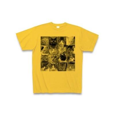 猫の顔たくさん Tシャツ(ゴールドイエロー)