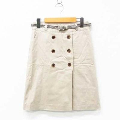 【中古】AQUASCUTUM スカート ボトムス ひざ丈 台形 トレンチ風 ボタン ベルト付き コットン混 ライトベージュ