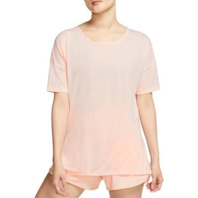 ナイキ シャツ トップス レディース Nike Women's Dri-FIT Short Sleeve Yoga Training Top WashedCoral