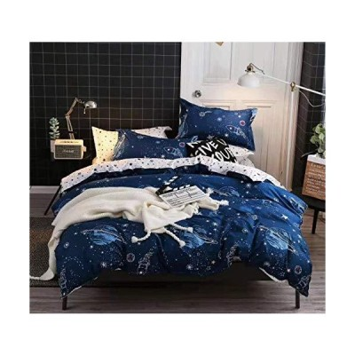 MAG Out Space Comforter Sets 3PC Navy Full/Queen Size Navy Color Galaxy Modern Pattern Soft Microfiber Bedding (Full/Queen, Comforter)