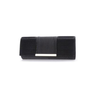 スタイルブロック STYLEBLOCK サテン横プリーツパーティークラッチバッグ (ブラック)