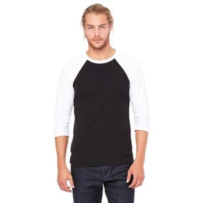 ユニセックス 衣類 トップス The Bella + Canvas Unisex 3/4 Sleeve Baseball T-Shirt - BLACK/ WHITE - S Tシャツ