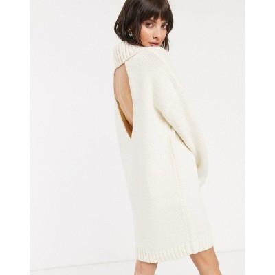 エイソス レディース ワンピース トップス ASOS DESIGN chunky mini dress with roll neck with open back Cream