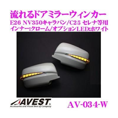流れるLEDドアミラーウィンカーレンズ AVEST アベスト AV-034-W 未塗装