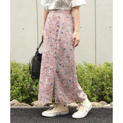 スカート AULI 花柄クルミボタン付スカート
