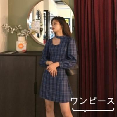 リゾートワンピース 短い丈 格子模様 カジュアル 着痩せ きれいめ 韓国風 キャバ フォーマル 春夏にピッタリ
