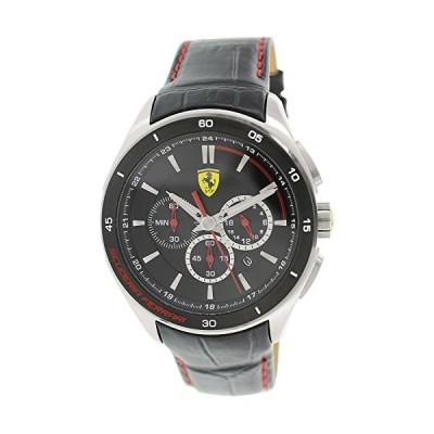 Scuderia Ferrari 0830182?Chronograph Watch Men's Watch Leather Strap 5?Bar Stainless Steel Analog Chrono Date Black 並行輸入品