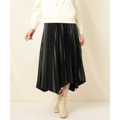 Couture Brooch / クチュールブローチ エコレザーイレヘムプリーツスカート