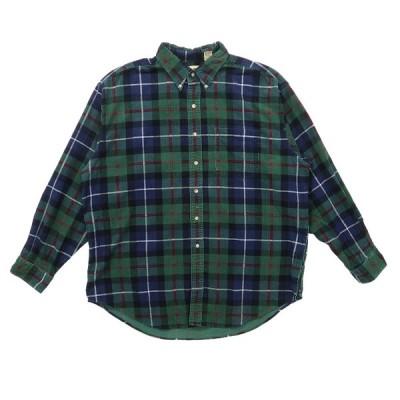 古着 エルエルビーン L.L.Bean コーデュロイ ボタンダウンシャツ 長袖 チェック グリーンベース サイズ表記:XL