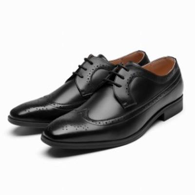 送料無料 ビジネスシューズ メンズ ウィングチップ 撥水 幅広 3E 革靴 H.O.WALK【DA629】