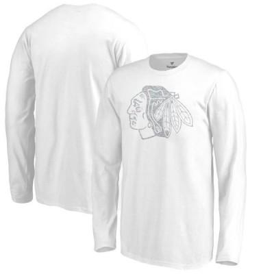 キッズ スポーツリーグ ホッケー Chicago Blackhawks Fanatics Branded Youth White Out Long Sleeve T-Shirt - White Tシャツ