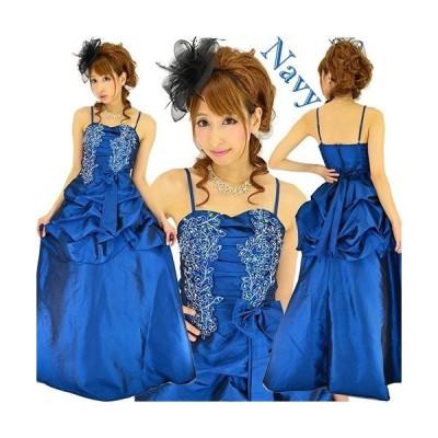 銀糸フラワー刺繍ウエストリボン&ギャザーフリル姫サテンロングドレス