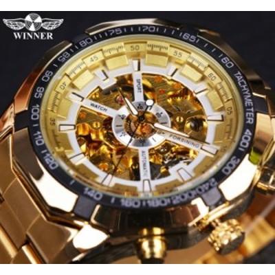 腕時計 海外ブランド メンズ 高級 機械自動巻き スポーツ ゴールド フルスチール スケルトン ホワイトダイヤル【領収発行可】