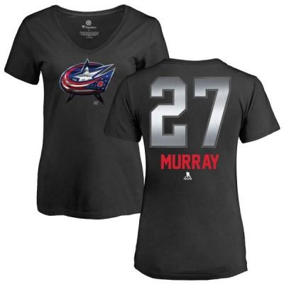 ファナティクス Tシャツ トップス レディース Columbus Blue Jackets Fanatics Branded Women's Personalized Midnight Mascot V-Neck T-Shirt Black