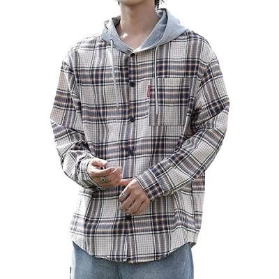 カジュアル チェックシャツ フード付き チェック柄 長袖 メンズ(ベージュ, 4XL)