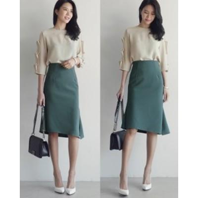 ハイウェストスカート ひざ丈 Aライン 大きいサイズ アシンメトリー きれいめ 夏 黒 グリーン