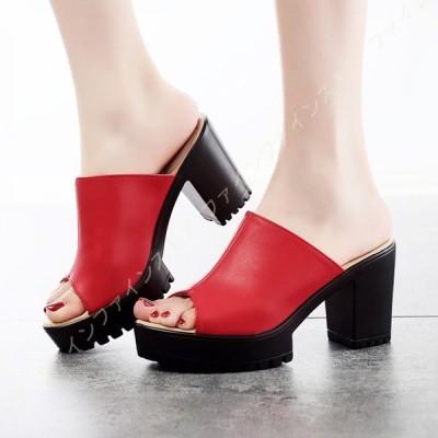 サンダル ミュール レディース ヒール 痛くない 脱げない 靴 黒 白 美脚 疲れにくい ハイヒール 走れる プラットフォーム サボサンダル チャンキーヒール 厚底
