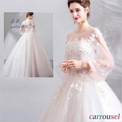 ウェディングドレス 花嫁ドレス 結婚式 花飾り ノースリーブ ワンピース 可愛い