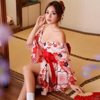 【最大50%OFF☆HALLOWEEN】コスプレ 衣装 コスチューム 仮装 2WAY 浴衣・着物 オフショル レトロ 可愛い 愛らしい ピンク フリーサイズ