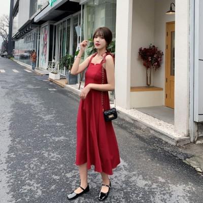 春夏 ドレス ロングドレス サマードレス ワンピース ミモレ丈 無地 ノースリーブ カジュアル リゾート パーティ