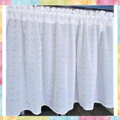 【日本製】制菌加工透けにくい 水玉柄 スパンボイル カフェカーテン (M-129 PI) ピンク (幅105cmX丈50cm)