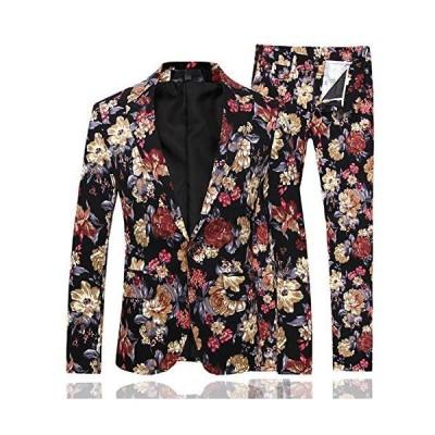 [CEEN]メンズ ファッション 花柄上下セットスーツ 結婚式 ドレススーツ