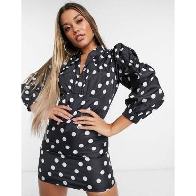 ライオネス レディース ワンピース トップス Lioness wrap front frill mini tea dress with puff sleeves in black polka print Mono polka