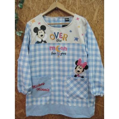ディズニー/ミッキーマウス&ミニーマウス/水色チェック柄/割烹着 スモック かっぽうぎ ミッキーミニー