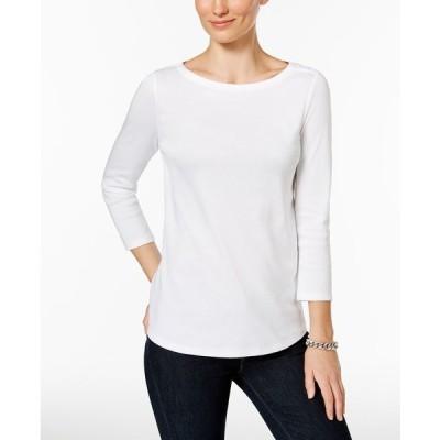 チャータークラブ カットソー トップス レディース Petite Pima Cotton Button-Shoulder Top,  Bright White