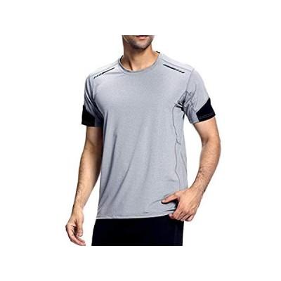 VISIONREAST メンズ スポーツTシャツ ストレッチTシャツ 半袖 ラグラン袖 ランニング ジム ボディビルディング アスレチックTシャツ U