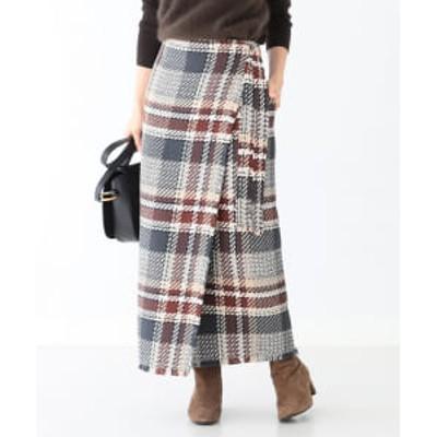 【アウトレット】Demi-Luxe BEAMS / チェックツイード ラップスカート