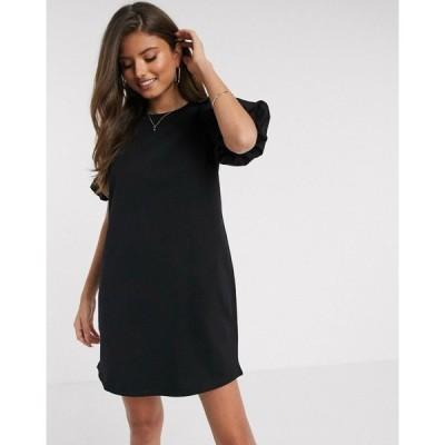 リバーアイランド River Island レディース ワンピース ワンピース・ドレス long sleeve poplin puff sleeve dress in black ブラック