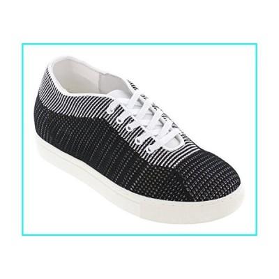 [CALTO] メンズ エレベータートレーナーの靴を増やす目に見えない高さ - ブラックニットレースアップ軽量ファッ