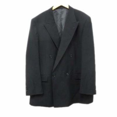 【中古】カンサイ KANSAI ダブル テーラード ジャケット ブレザー 無地 レトロ 黒 ブラック メンズ