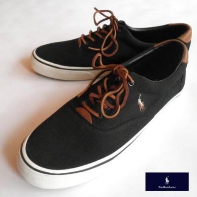 ラルフローレン スニーカー シューズ ポロロゴ ブラック [箱なし] アウトレット品 レザーシューレース メンズ靴 11D[28.5cm程度] 送料無料