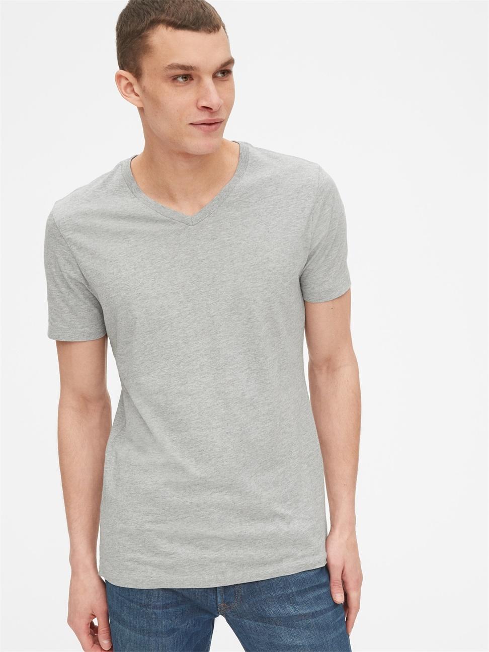 男裝 休閒直筒V領短袖T恤