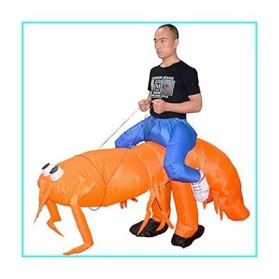 ZISUEX Pippi Shrimp Inflatable Costume Orange Blow Up Suit Party Fat Cosplay Animal Halloween Costume Jumpsuit