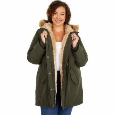 リーバイス Levis レディース ジャケット 大きいサイズ アウター Plus Size Arctic Cloth Fishtail Parka Jacket w/ Sherpa Lining Olive