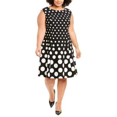 ロンドンタイムス ワンピース トップス レディース London Times Plus Knit A-Line Dress black & white