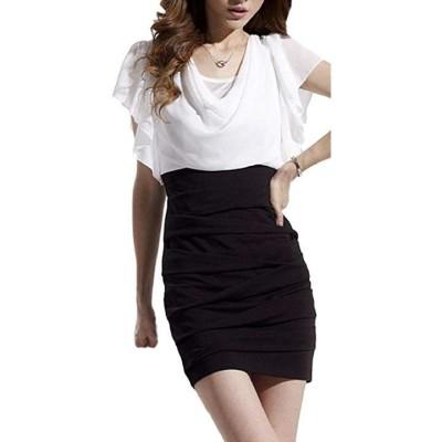 セクシー ミニ ワンピース タイト きれいめ 胸元 キャバ ドレス ミニ丈 レディース ホワイト 白 黒 サイズ(1:白×黒  L)