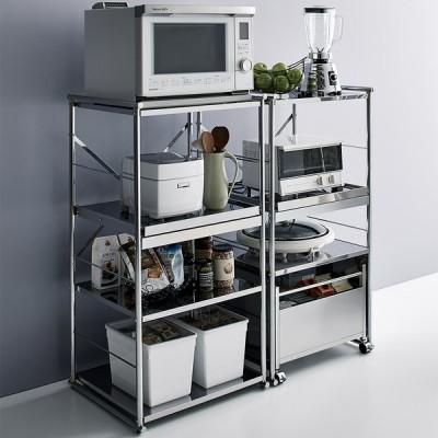 家具 収納 キッチン収納 食器棚 レンジ台 レンジラック キッチンラック ステンレス大型レンジラック ミドルタイプ オープン H04807