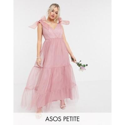 エイソス ASOS Petite レディース ワンピース Aライン ワンピース・ドレス ASOS DESIGN Petite tulle bow tie tiered maxi dress in rose ローズ