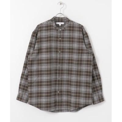 URBAN RESEARCH/アーバンリサーチ チェックバンドカラー起毛シャツ GRY×BRN L