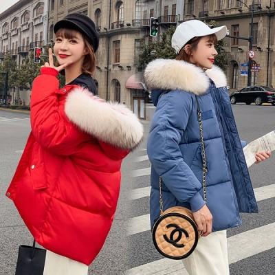ファー付き フード ダウン風 中綿 ジャケット コート ショート丈 ジップアップ 無地 防寒 大きいサイズ