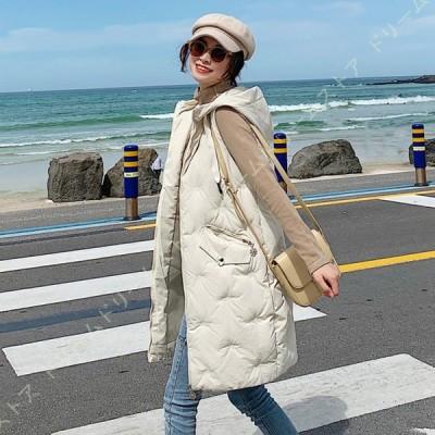 ベスト レディース 綿入れ フード付き ロングベスト 中綿コート ノースリーブ 冬 防寒着 あったか 大きいサイズ ダウンベスト ダウン ロング 丈 服 ぼうし付き